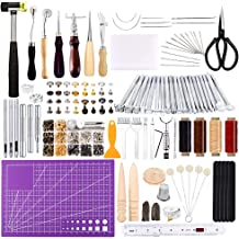 Leather Work Tool Leathercraft Tools and Supplies with Leather Stamping Tools Rivets Kit Prong Punch for Leather Crafting Beginner Leather Working Kits Lokunn 128 Pieces Leather Tool Kit