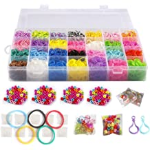 Rubber Loom Bands Refill Bracelet Making Kit 10000pcs 28 Colors 2 Keychains 3 Pack Charms 4 Pack Colorful Beads Organizer by NEFUTRY 2 Packs Letter Beads 10 Pack Clips 2 Hooks
